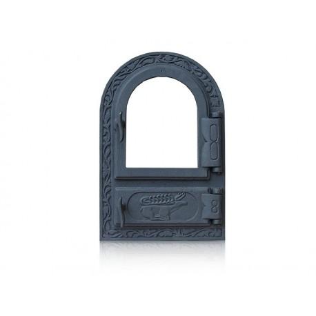 """Drzwiczki żeliwne """"JELEŃ"""" z szybką nr. 56656 szer. 330 mm wys. 500"""