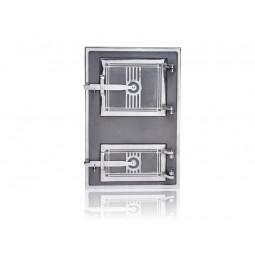 Drzwiczki kuchenne żeliwne niklowane nr. 21211 szer.290 wys. 405 mm