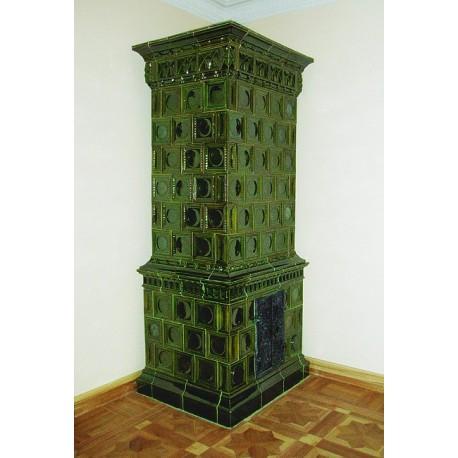 Piec kaflowy tradycyjny 224 zielony 1200 x 900 x 2950 mm