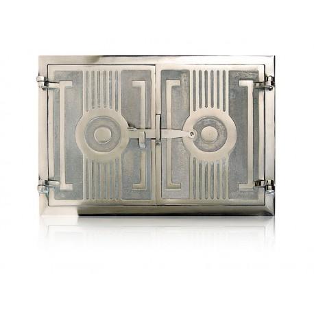 Drzwiczki żeliwne niklowane nr.0268 szer. 480 wys. 330
