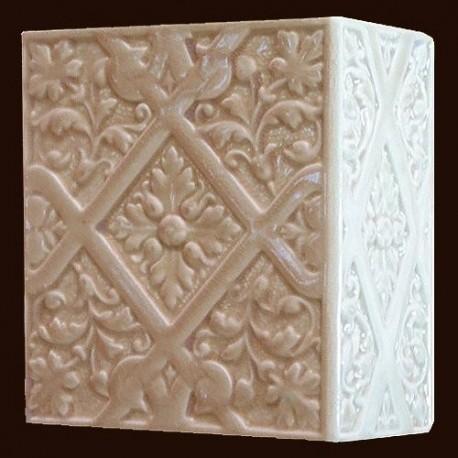 Kafel RÓŻYCZKA narożny biały B-005 220 x 220 x 110 mm
